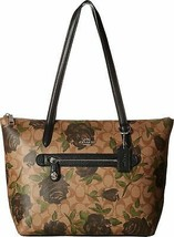 COACH Women's Camo Rose Taylor Tote Silver/Khaki/Black One Size - $155.92