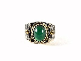 14K Gold &  925 Sterling Silver Natural Emerald & Diamond Vintage Look New  Ring - $346.50