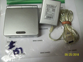 GameBoy Advance SP Platinum Silver Handheld System + WALL CHARGER #157 - $56.99