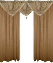 Coffee Beige 5 Piece Voile Set Rod Pocket Curtains Drapes & Swags - 4 Sizes - $25.77+