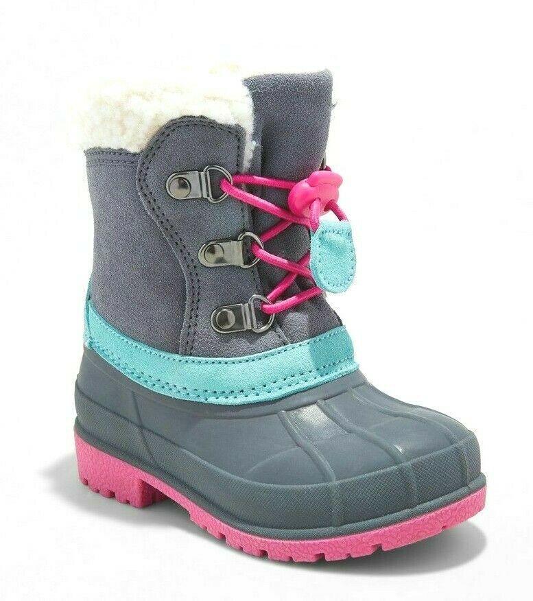 Cat & Jack Toddler Girls' Grey Pink Mora Suede Bungee Winter Boots Size SM 5/6