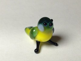Miniature Glass Blue and Yellow bird Handmade Blown Glass Made USA - $39.99