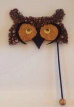OWL Mask Costume Real Feathers Handle Masquerade Wall Hanging Wood Glitter  - $22.24
