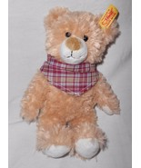 Steiff Luise Teddy Bear Brown Tan Plaid Bandana 022982 Plush Stuffed Animal - $19.78