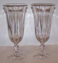 """STUNNING PAIR OF NORITAKE CRYSTAL VENDOME PLATINUM 8 1/8"""" ICED TEA GLASSES - $44.54"""