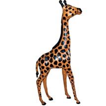 Vintage Exotic Decor Handmade Leather Wrapped Giraffe Figure Statue 24 i... - $99.98