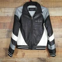 Baby Phat Full Leather Bomber Jacket Size M Womens Black/White/Gray - $79.19