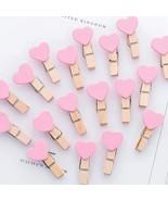 Aihao® 5Pcs/Set Pink Heart Binder Clips Kawaii Clamp Wood Clips For Photos - $1.44
