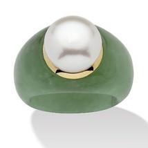 Cultured Freshwater Pearl Green Jade 10k Yellow Gold Ring - $53.54