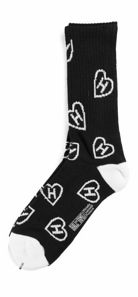 Hall of Fame Mens Black H Love Hearts Tall Crew Socks New in Package 2nd Sucks