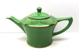 Vintage Hall Pottery China Green+Gold Butterfly 6 Cup #0152 USA Tea Pot ... - $42.06