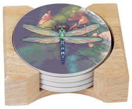 CounterArt Dragonfly Design Round Absorbent Coasters in Wooden Holder, S... - $25.68