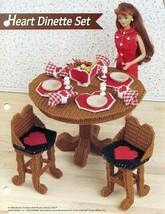 Heart Dinette Set for Barbie Annie's Attic Plastic Canvas Pattern Leafle... - $8.97