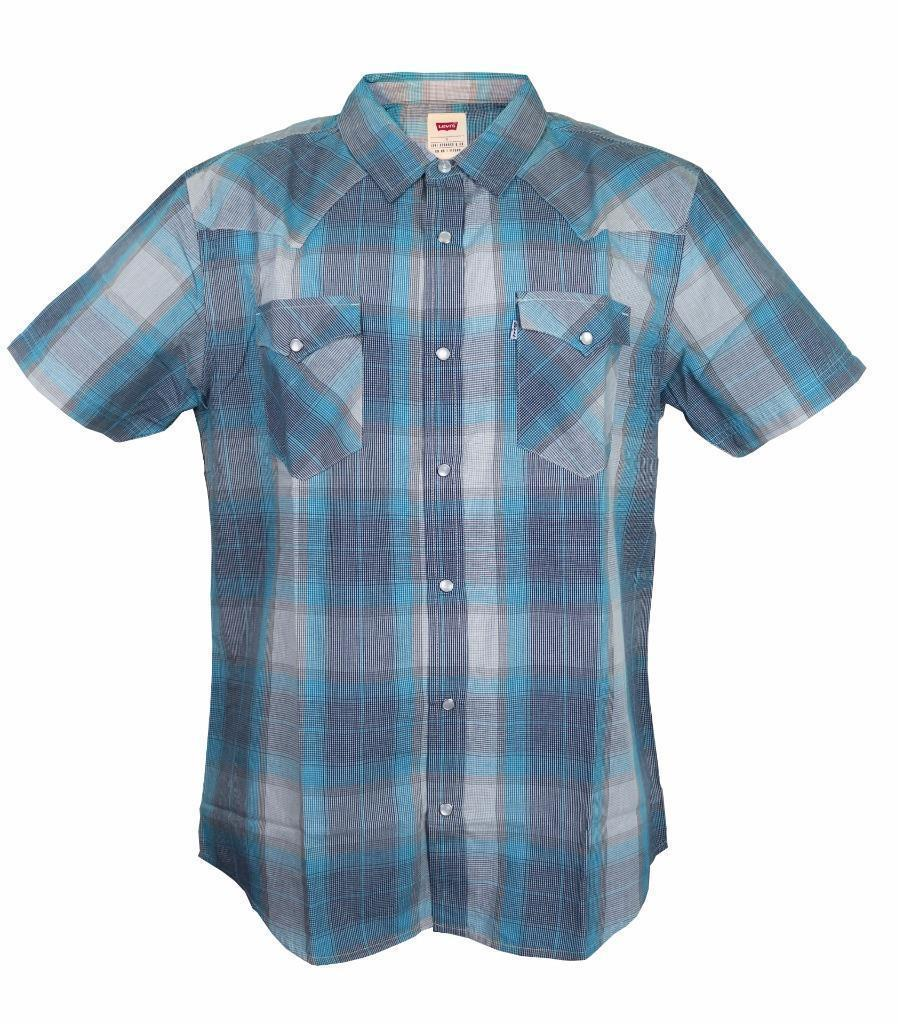 BRAND NEW LEVI'S MEN'S CLASSIC COTTON CASUAL BUTTON UP PLAID BLUE GRAY 3LYSW0612