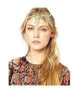 Campsis Gold Vintage Head Chains Pearl Beaded Boho Egyptian Indian Chain... - $8.48