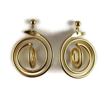 Vtg Gold Tone Dangle Pierced Post Earrings Open Swirl Continuous Circle ... - $9.99