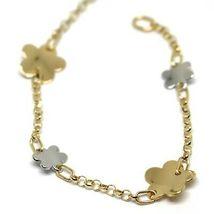 Bracelet Yellow White Gold 18K 750, Flowers, Daisy Woven Trellis 18 CM image 3