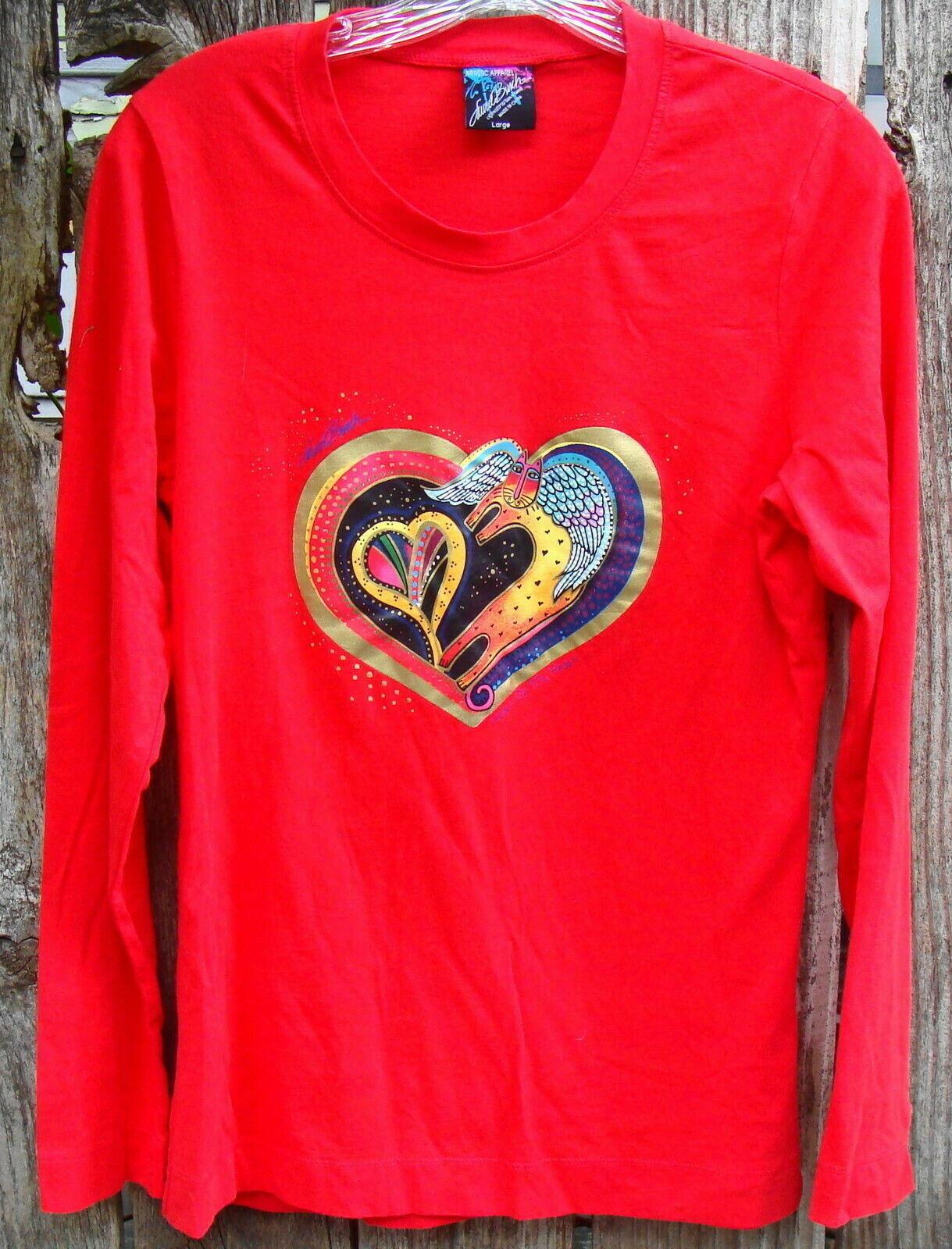 Laurel Burch Angel Cat & Hearts Red Long Sleeve Cotton Tee Shirt - $20.00