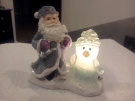 Santa Figurine, w/ a Glimmer In His Eye & Snowman at His Side -- Tea Can... - $16.82