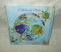 Set of 4 Punch Studio Luncheon Salad Melamine Plates Sea Life NWT FREE S... - $32.99
