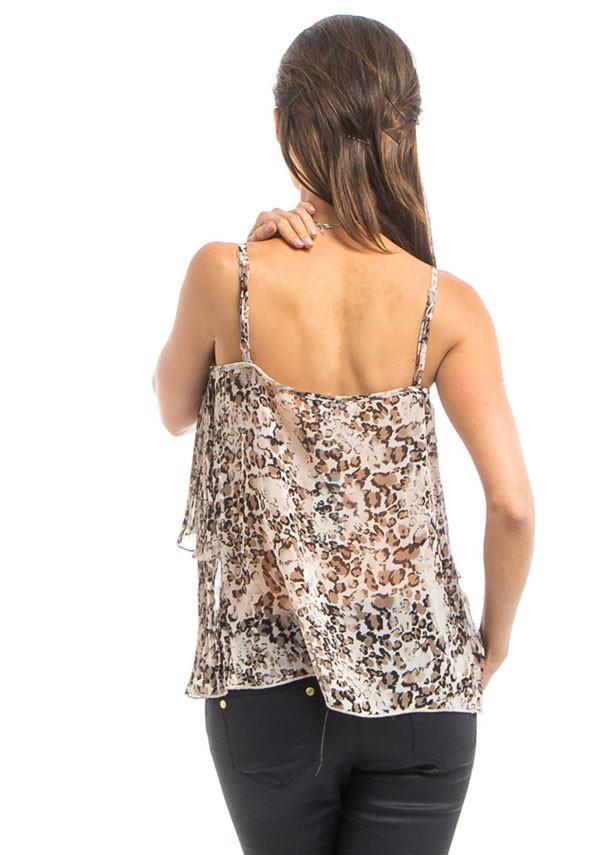 Women's adjustable spaghetti straps animal print top