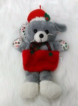 """Vintage Mouse Christmas Stocking Plush 16"""" Holiday Green Gray Red B202 - $14.99"""