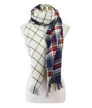 Le Nom Reversible Large Plaid Check Pattern Scarf (Navy/Ivory) - $14.84