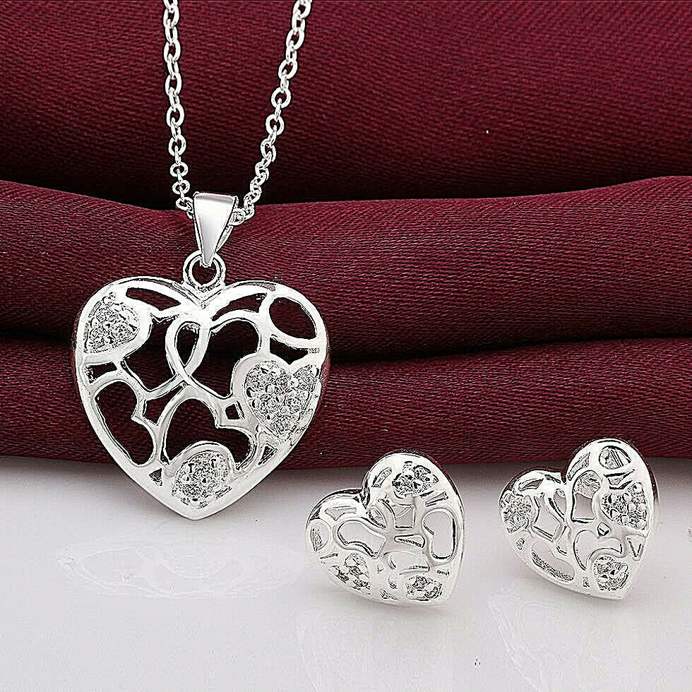 Primary image for Heart with Rhinestones Necklace and Earrings Set 925 Sterling Silver NEW