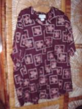 Kolekole Mens Hawaiian Shirt, Cotton Lawn, 3X Dk Purple, Browns, Tans Fl... - $11.18