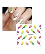 Water Transfer Watermark Art Nails Decal Sticker Manicure Feather YZW108 - $1.59