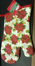 "Printed Kitchen 13"" Large Oven Mitt, Sparkling Red Flowers By Ch - $7.91"