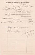 U.S. Farmers and Merchants National Bank El Dorado 1913 Paid Invoice Ref... - $7.55