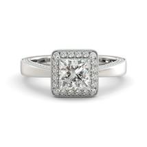 Engagement Ring Brilliant Moissanite Princess & Round Diamond 2.71 ct 14 W Gold - $2,182.00