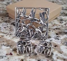 Vintage Silver Plated Bird Brooch Pendant W/Clip Earrings Set - $6.00