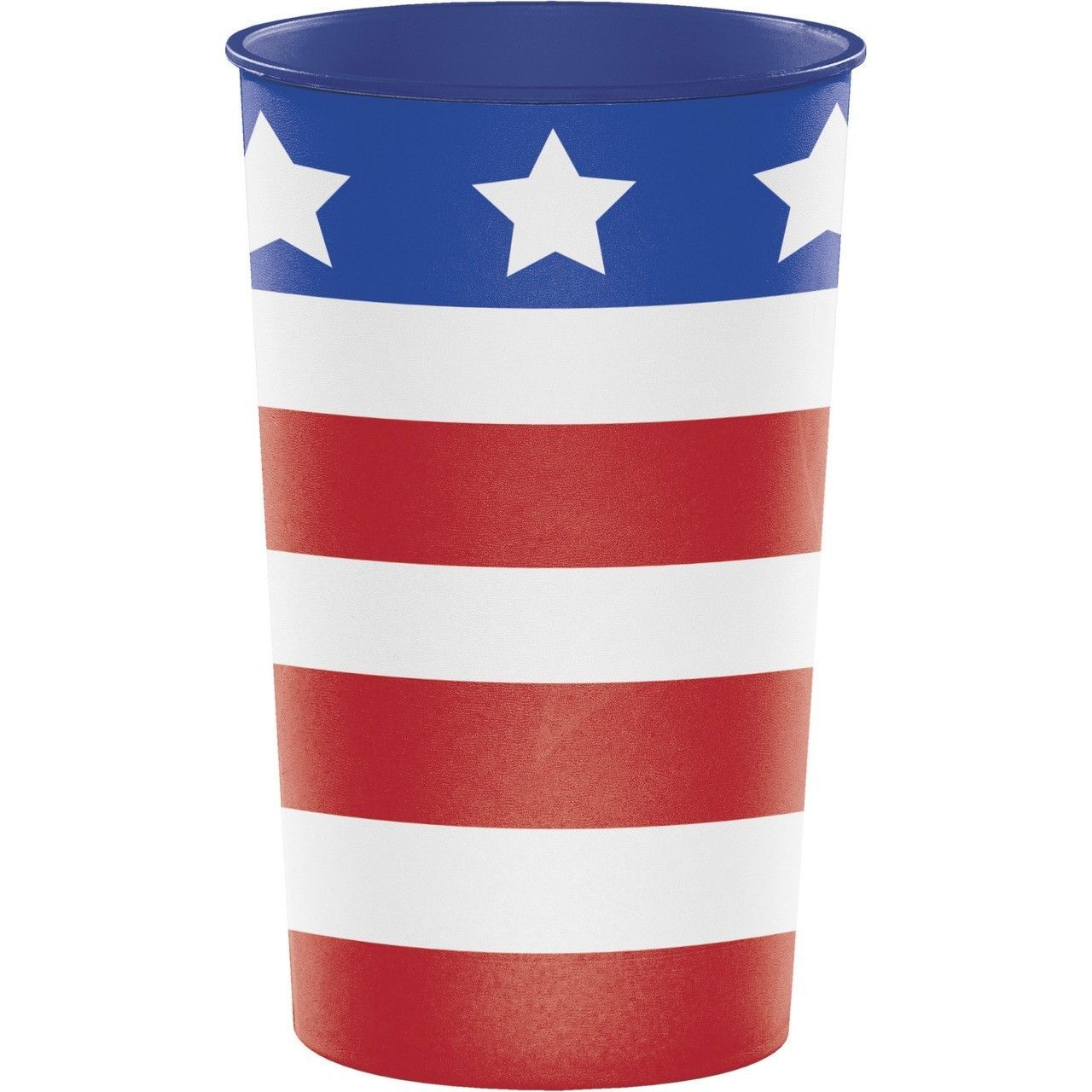 Patriotic USA Re-useable 22 oz Cup Plastic July 4th Veterans Memorial