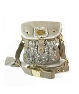 Leather grey dukas glitter canvas gold tone hw shoulder bag shoulder mes... - $345.77