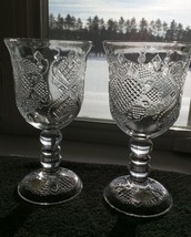 "2 Fostoria HEARTS & DIAMONDS Avon Water Wine Beer Goblets 7-1/8"" Set Of Two - $9.99"