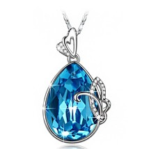 Blue Aquamarine Butterfly Necklace Pendant Necklace Birthstone Cryst - $77.77