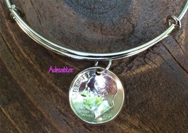 1947 Sterling Silver Dime On Bangle Charm Bracelet 70th Birthday Gift Rare Coin - $24.99