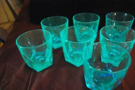 Lot of 7 Hazel Atlas Capri Gothic blue old fashioned rocks glasses - $21.73