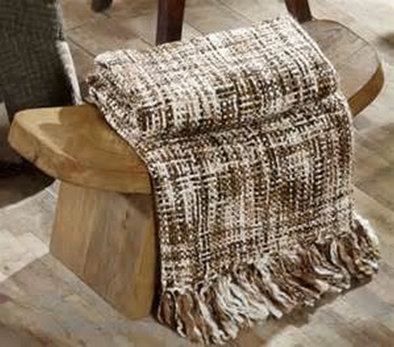 Danson Mill Woven Acrylic Throw - Brown, Tan, Natural and Creme - VHC Brands