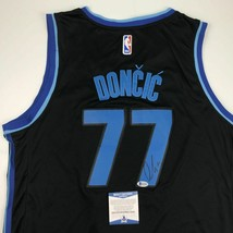 Autographed/Signed LUKA DONCIC Dallas Black Basketball Jersey Beckett BA... - $299.99