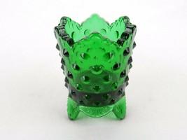 Fenton Toothpick Holder Green Hobnail Glass, Signed Fenton Toothpick Holder - $14.65