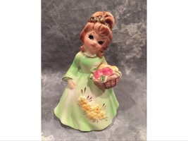 Rare Vintage Lefton Girl Lady Figurine With Gold Bow In Hair & Basket Va... - $18.00