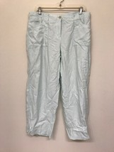Talbots Women's 12 Capri Pants Cropped 100% Pure Irish Linen Light Blue - $24.74
