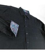 Robert Graham Black on Black Floral Dress Shirt Flip Cuff Sz XL Classic Fit - $44.99