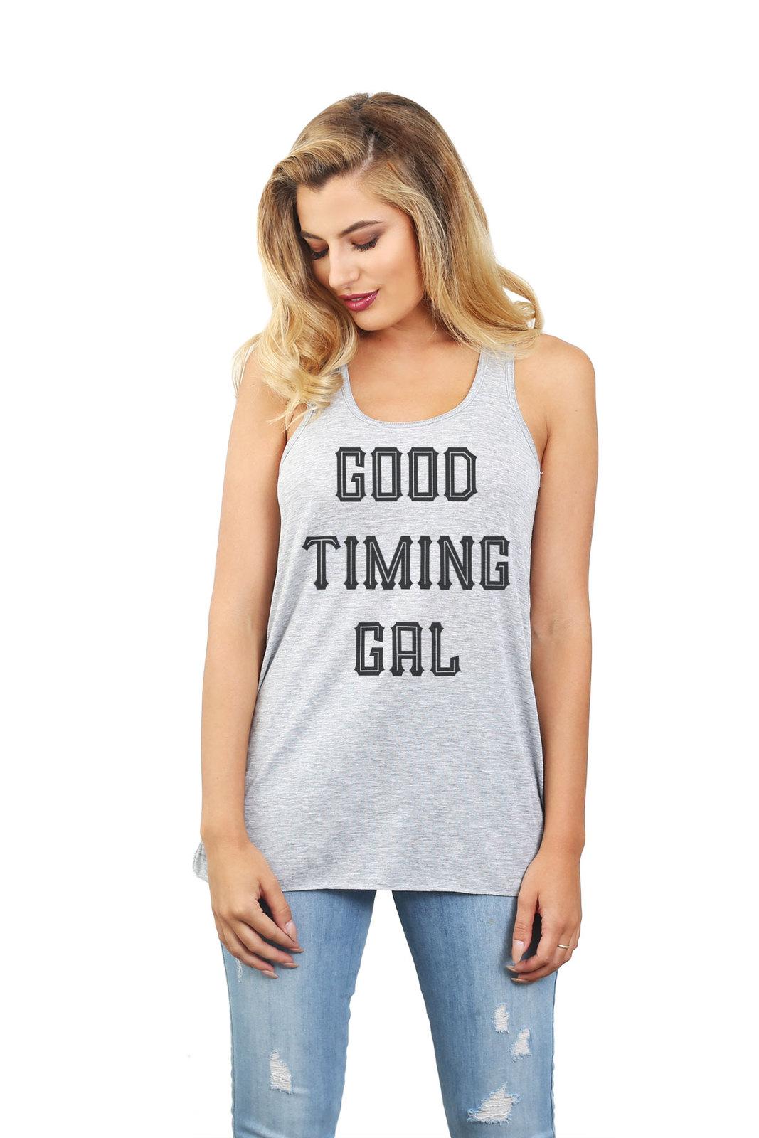 Thread Tank Good Timing Gal Women's Sleeveless Flowy Racerback Tank Top Sport Gr