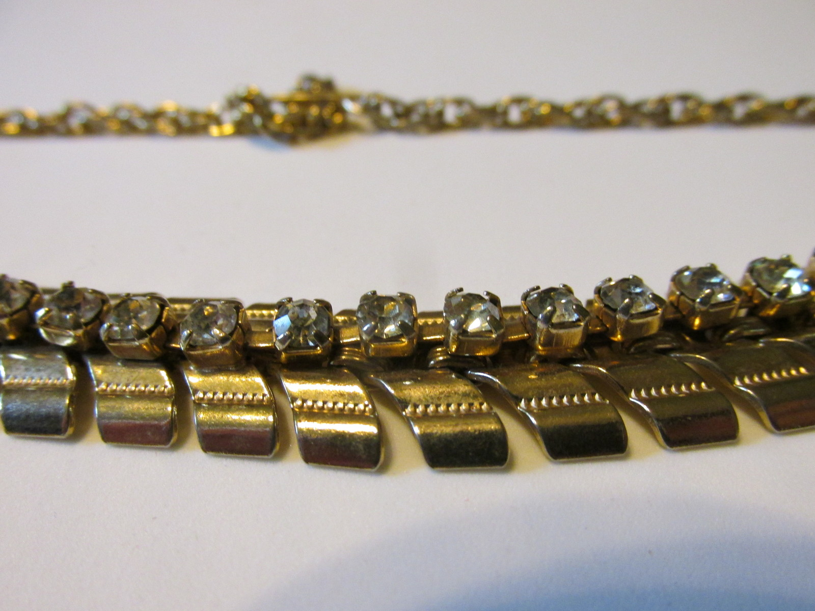 Vintage Rhinestone Necklaces, Gold Toned, Silver Toned with Aurora Borealis