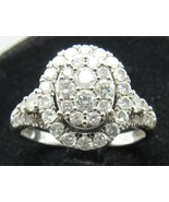 10k White Gold Oval Halo 56 Diamond Engagement Ring Sz 6.75 Ladies Brida... - $499.99