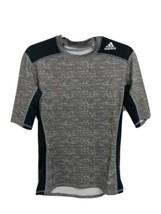 Adidas Climalite Techfit compression men's tshirt short sleeve gray blac... - $14.84